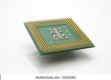 Modern Computer CPU Processor Chip floating in the air.