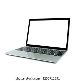 Modern computer, Laptop in angled position view with blank screen isolated on white background.mockup or template for advertising