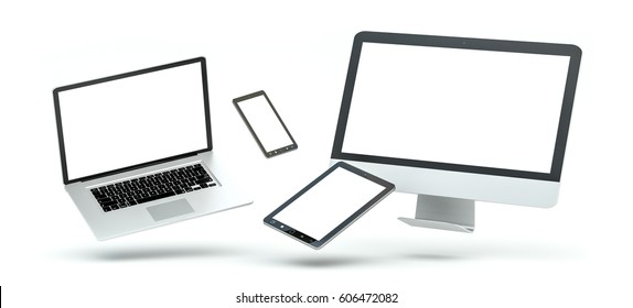 Modern computer laptop mobile phone and tablet floating over white background 3D rendering