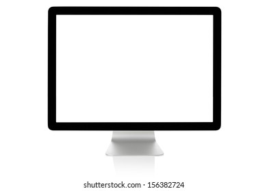 Modern computer monitor with blank white screen isolated, clipping path included