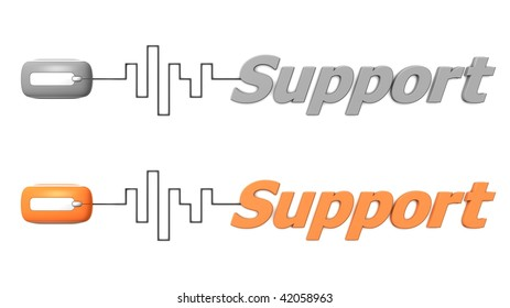 modern computer mouse connected to the word Support via digital waveform cable - mouse and word both in grey and orange