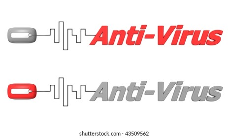 modern computer mouse connected to the word Anti-Virus via digital waveform cable - mouse and word both in grey and red