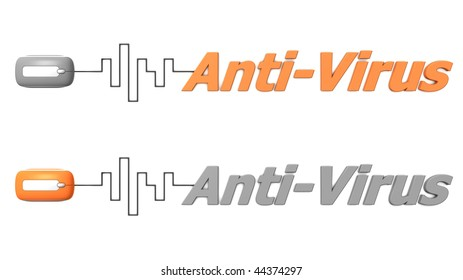 modern computer mouse connected to the word Anti-Virus via digital waveform cable - mouse and word both in grey and orange