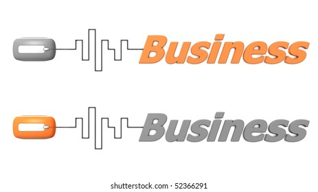 modern computer mouse connected to the word Business via digital waveform cable - mouse and word both in grey and orange