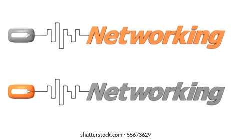 modern computer mouse connected to the word Networking via digital waveform cable - mouse and word both in grey and orange