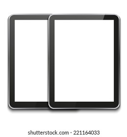 modern computer tablets on white background.