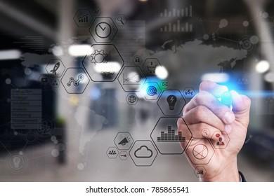 Modern computer virtual screen. Business technology and internet concept. IOT.
