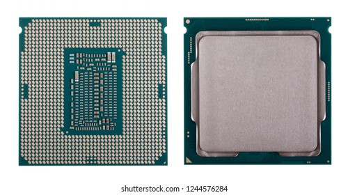 Modern computer x86 processor 9th generation, modern central processing unit (CPU), isolated on white background