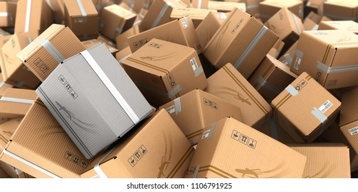 modern concept of a lost parcel mountain from the boxes as a background 3d render