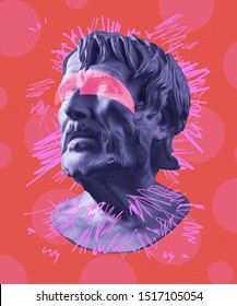 Modern conceptual art poster with ancient statue of bust of Seneca. Collage of contemporary art.