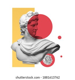 Modern conceptual art poster with ancient statue. Collage of contemporary art.