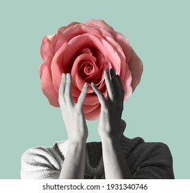 Modern conceptual art poster with a  girl with beautiful flower instead of a head and hands in a mas surrealism style. Contemporary art collage