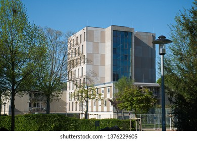 Modern concrete building in Green-City Freiburg at the Black Forest, Germany, Europe