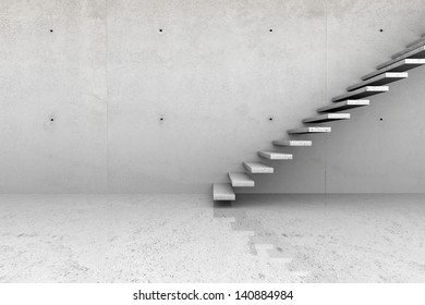 Modern concrete empty room with stone stairs