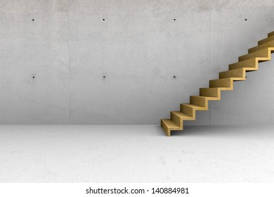 Modern concrete empty room with wooden stairs