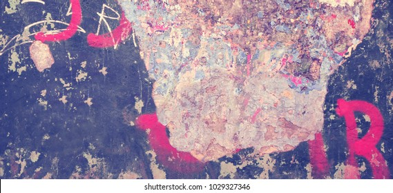 Modern Concrete Wall Horizontal Background Or Wide Texture. Grunge Brick Wall With Graffiti Art. Urban Surface With Grafiti. Old Building Plaster Wall With Grafitty Fragment. Abstract Web Banner