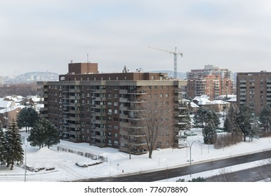 Modern condo buildings with huge windows and balconies in Montreal, Canada.