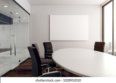 Modern conference room with empty poster and city view. Mock up, 3D Rendering