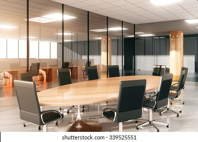 Modern conference room with furniture 3D Render