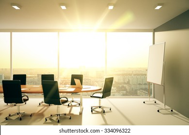 Modern conference room with furniture and city view at sunrise 3D Render