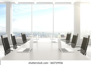 Modern conference room with furniture, laptops, big windows and city view 3D Render