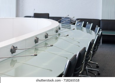 Modern conference room with microphone and furniture