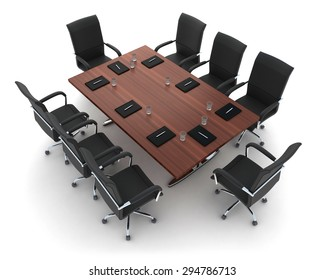 Modern conference room on white background (done in 3d)