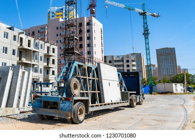 Modern construction site of building with crane