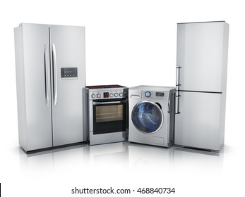 Modern consumer electronics,Fridge,washer and electric-cooker (done in 3d rendering)