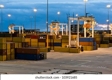Modern Container Port Terminal, Harbour in South Africa by night