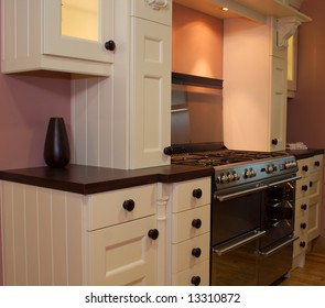 Modern contemparary kitchen design stove and cupboards in showroom
