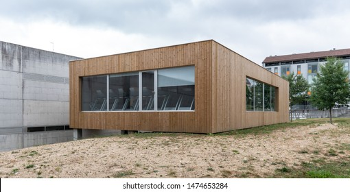 Modern Contemporary building with wood cladding. Modern architecture