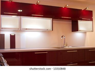 Modern contemporary kitchen design worktop and cupboards in showroom