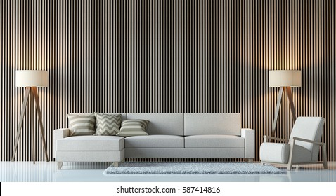 Modern contemporary living room interior 3d rendering image.There are decorate wall with vertical wood pattern,white furniture and lamp