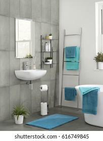 Modern contemporary luxury bathroom interior. Spacious Modern Architectural Home Bathroom Interior Design