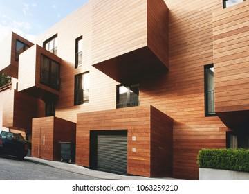 Modern contemporary wood sided building. September 15, 2009, Hamburg, Germany