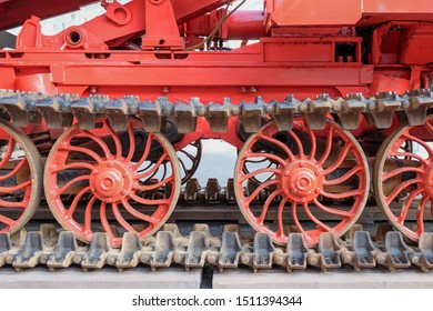 Modern Continuous track of metal steel plates  in tracked vehicle for precise maneuvering over difficult terrain closeup