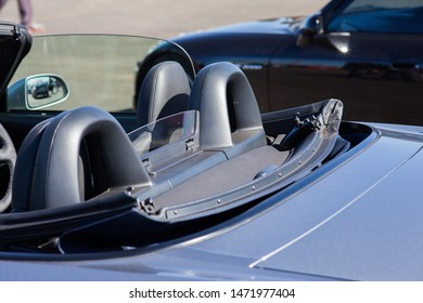 Modern convertible car with soft top down