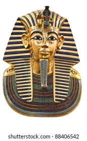 Modern copy of Tutankhamen's mask isolated with clipping path