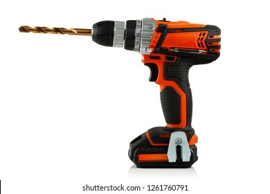 modern cordless drill with drill bit, on white background