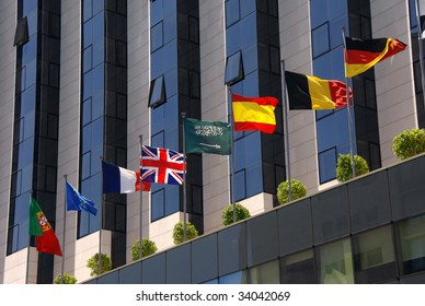 Modern corporate building with flags