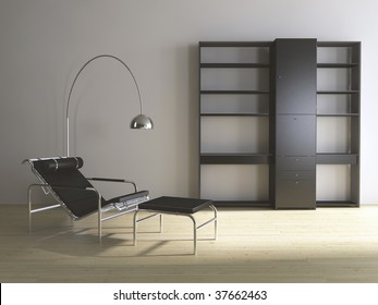 Modern couch with floor lamp and rack - hardwood parquet - front view