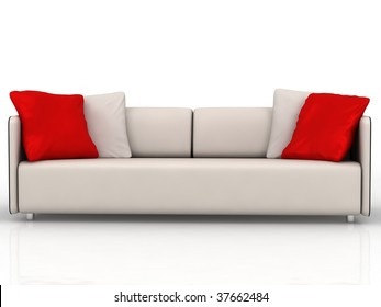 modern couch with red and white cushions - isolated on white