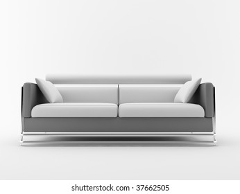 modern couch with white cushions - isolated on white