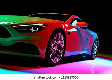 Modern coupe car in colorful spotlights on a black background. Front view. 3D illustration. Luxury cars.