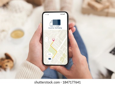 Modern courier delivery at home, shopogolic and online shopping. Hands of lady holding smartphone with mobile app and map to track the order on digital screen on blurred background, collage, cropped - Shutterstock ID 1847177641