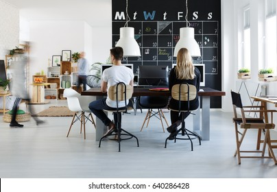 Modern coworking space in black and white for freelancer