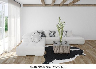 Modern cozy bright white living room with an animal skin on a light hardwood floor with large sunlit windows. 3d Rendering.