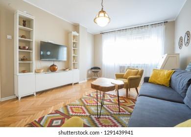 Modern cozy living room interior