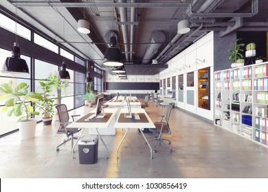 modern cozy loft office interior. 3d rendering
